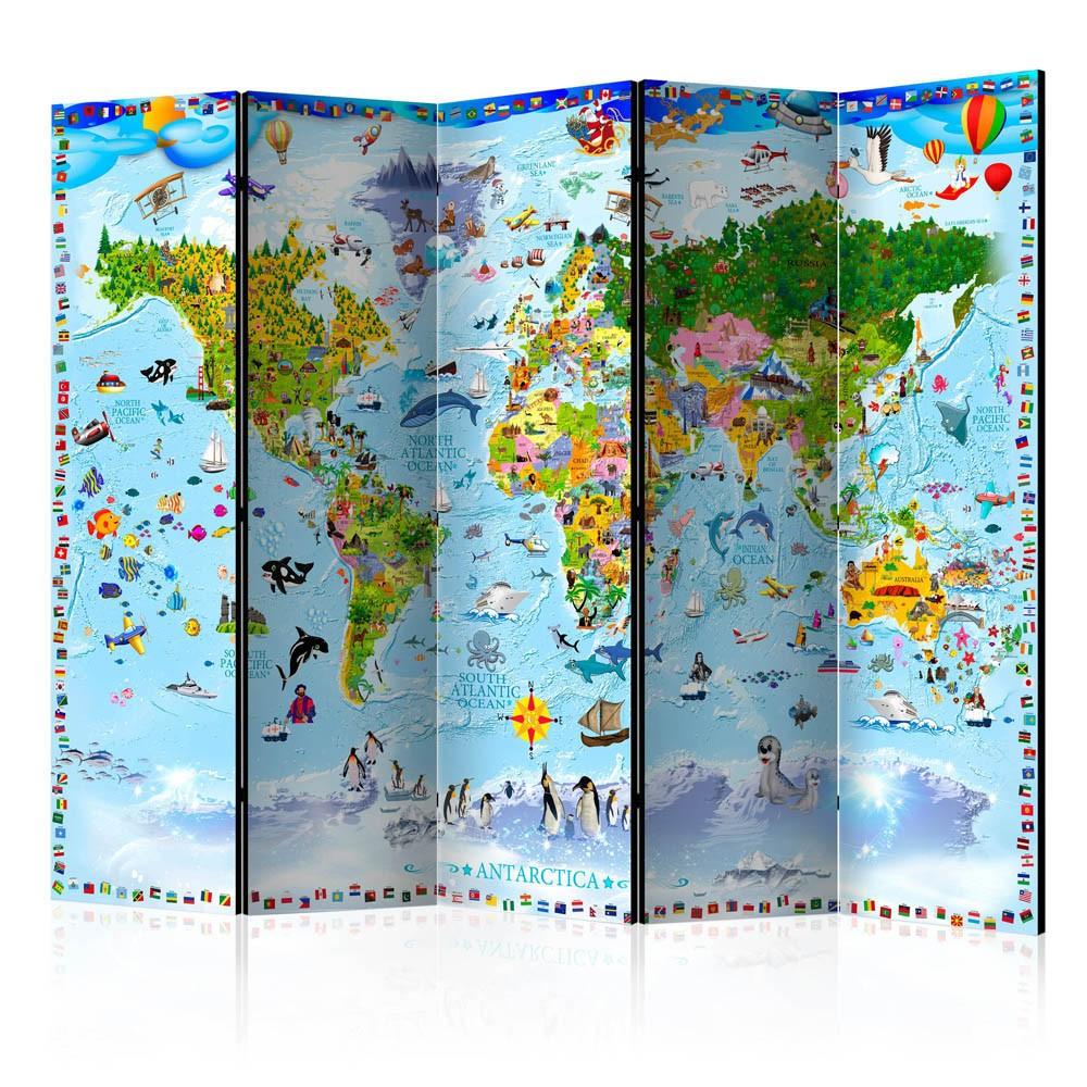 Paravent Imprimé Carte Du Monde Enfant Multicolore 5 Volets tout Carte Du Monde Enfant