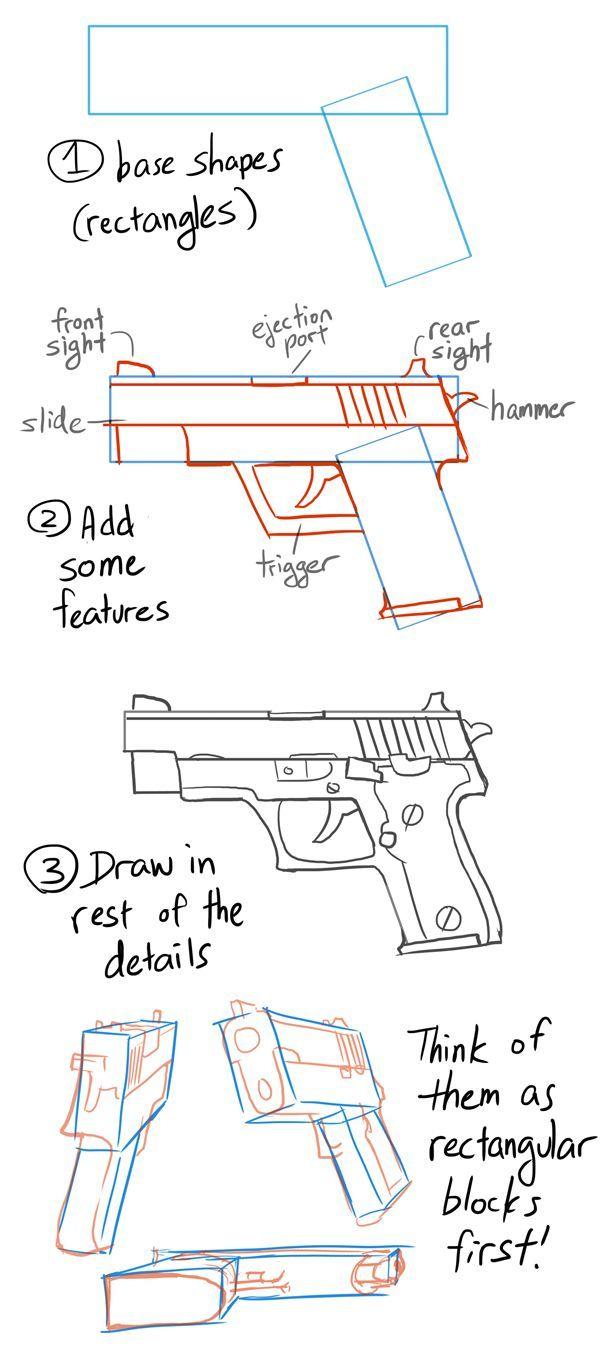 Paso A Paso Con Jeannine En 2020 | Pistolet Dessin, Dessin D intérieur Comment Dessiner Un Fusil