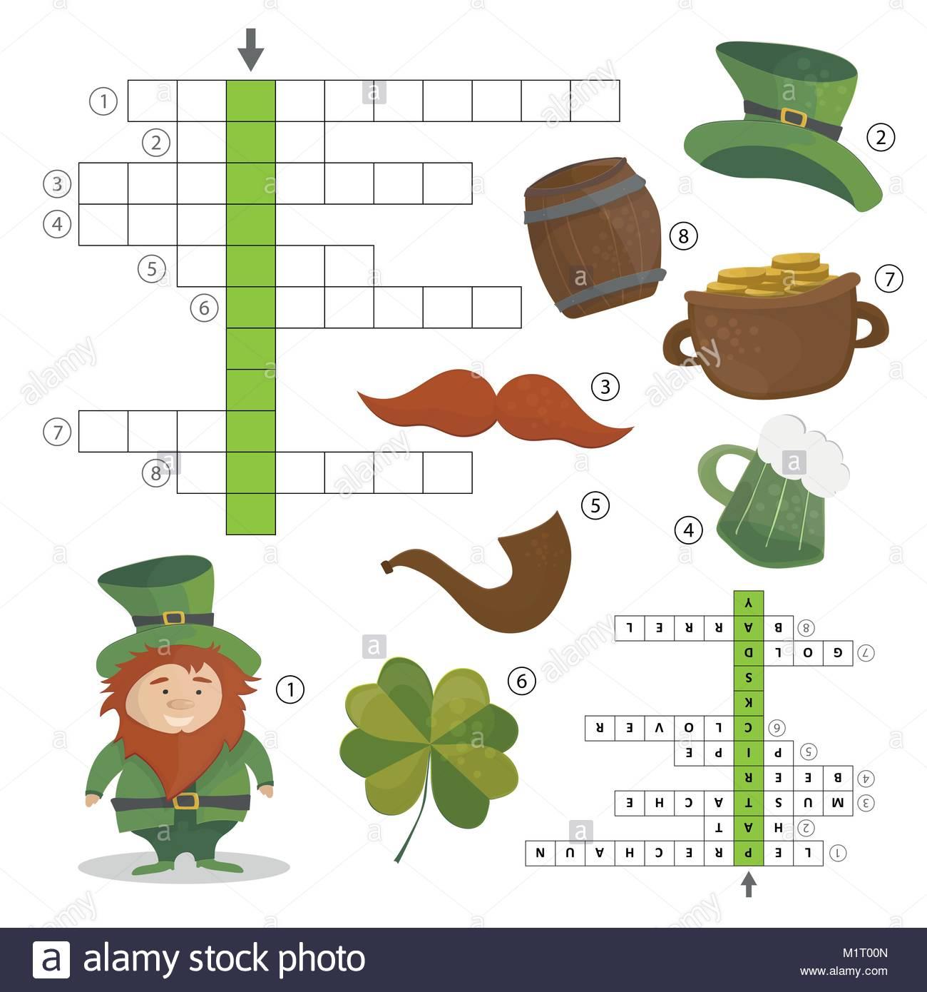 Patricks Day Holiday - Puzzle - Jeu De Mots Croisés. Réponse avec Jeu De Mot Croisé