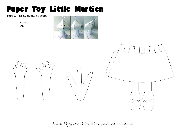 Patron Du Paper Toy Martien 1/2 pour Paper Toy A Imprimer
