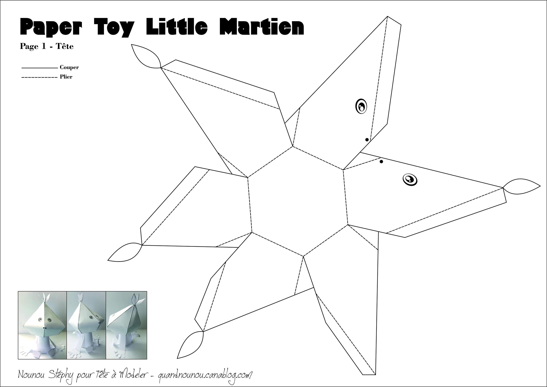 Patron Du Paper Toy Martien 2/2 dedans Paper Toy A Imprimer