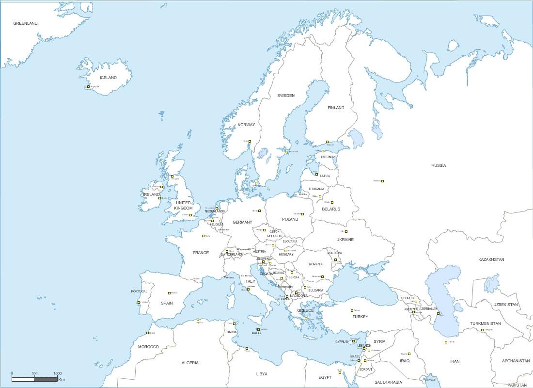 Pays D' Europe Avec Capitales dedans Carte D Europe Avec Les Capitales