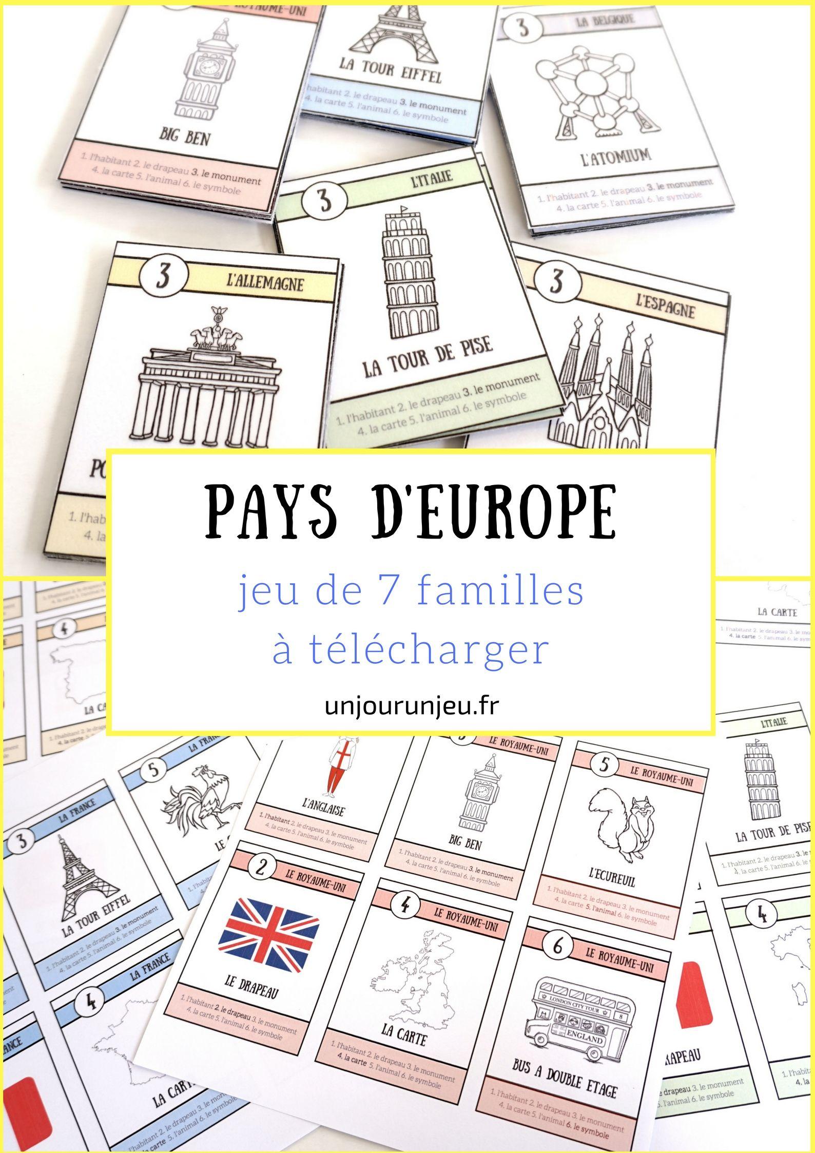 Pays D'europe : Le Jeu De 7 Familles À Télécharger tout Carte Pays D Europe