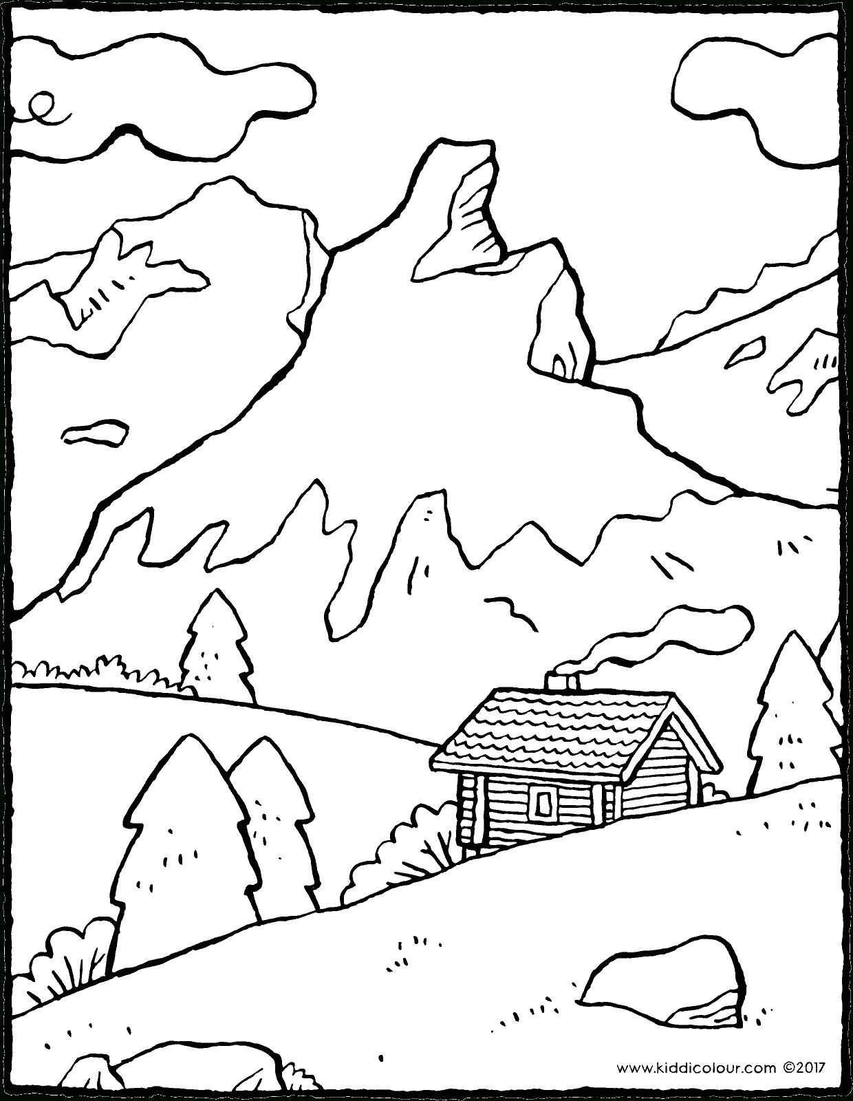 Paysage De Montagne - Kiddicoloriage serapportantà Dessin Printemps Paysage