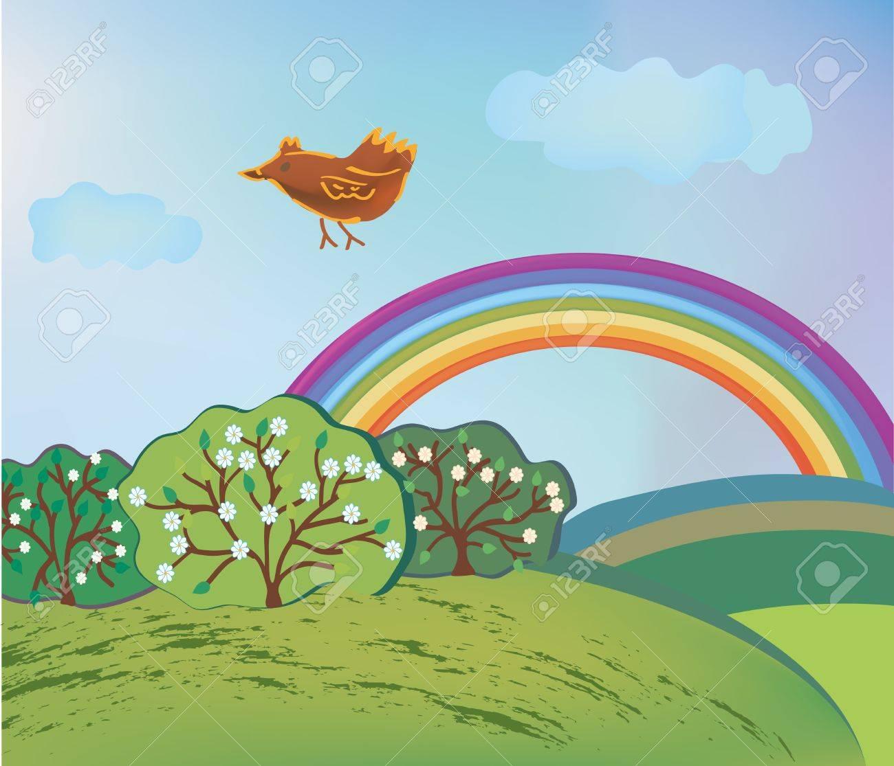 Paysage De Printemps Avec Arc En Ciel Et Oiseau De Dessin Animé à Dessin Printemps Paysage
