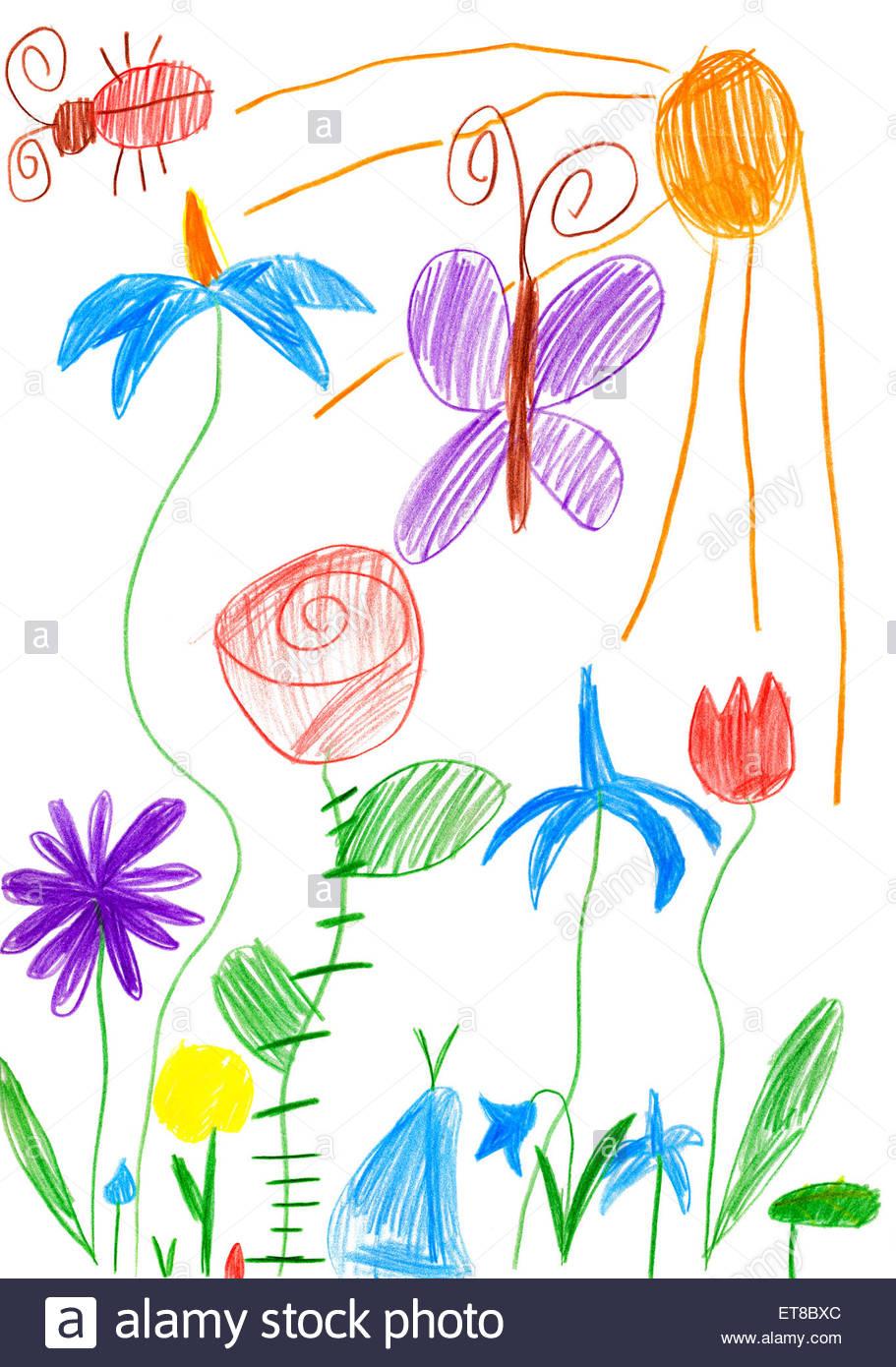 Paysage De Printemps Avec Papillon Et Fleurs. Enfant Dessin dedans Dessin Printemps Paysage