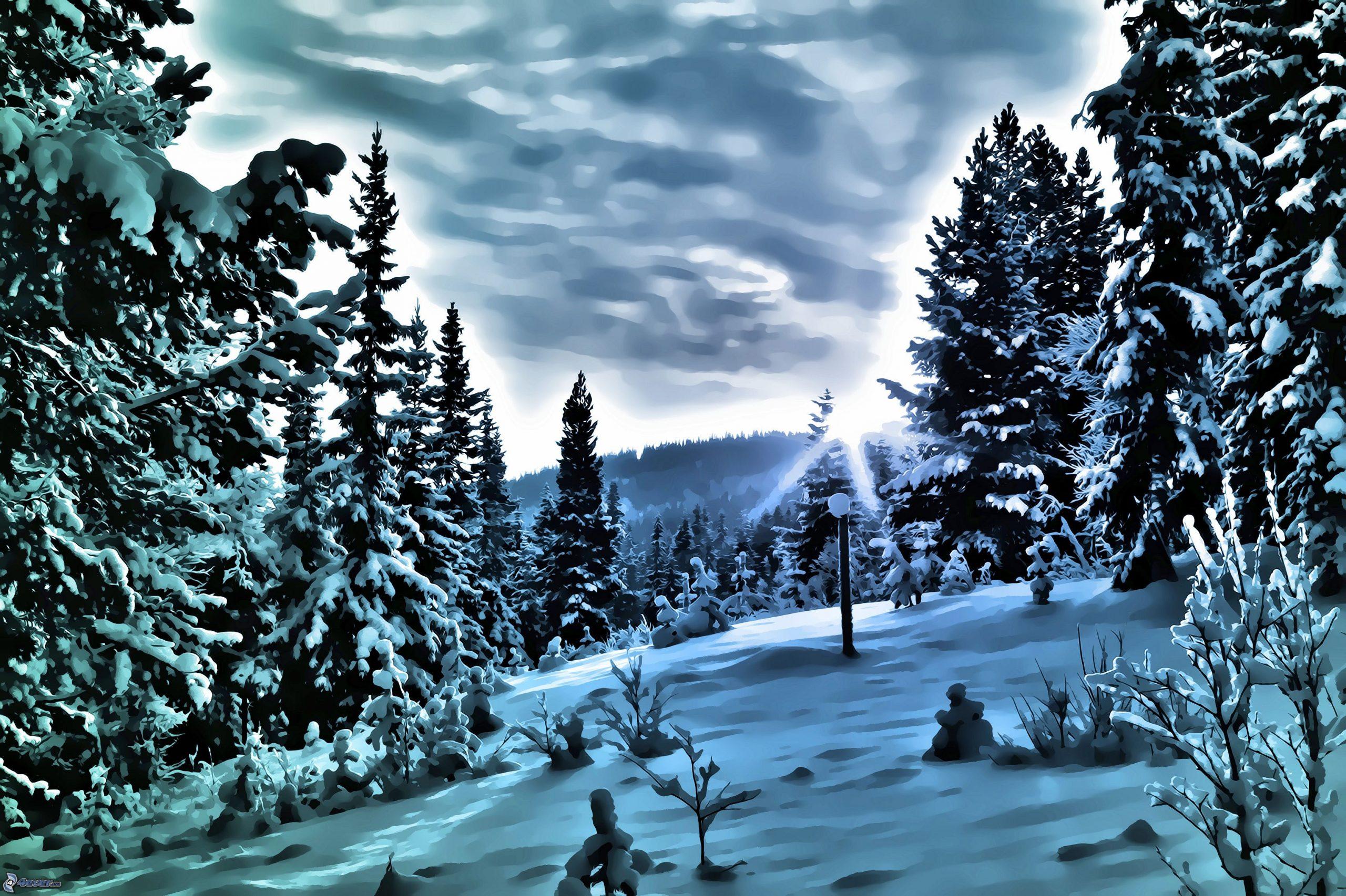Paysage D'hiver à Dessin De Paysage D Hiver