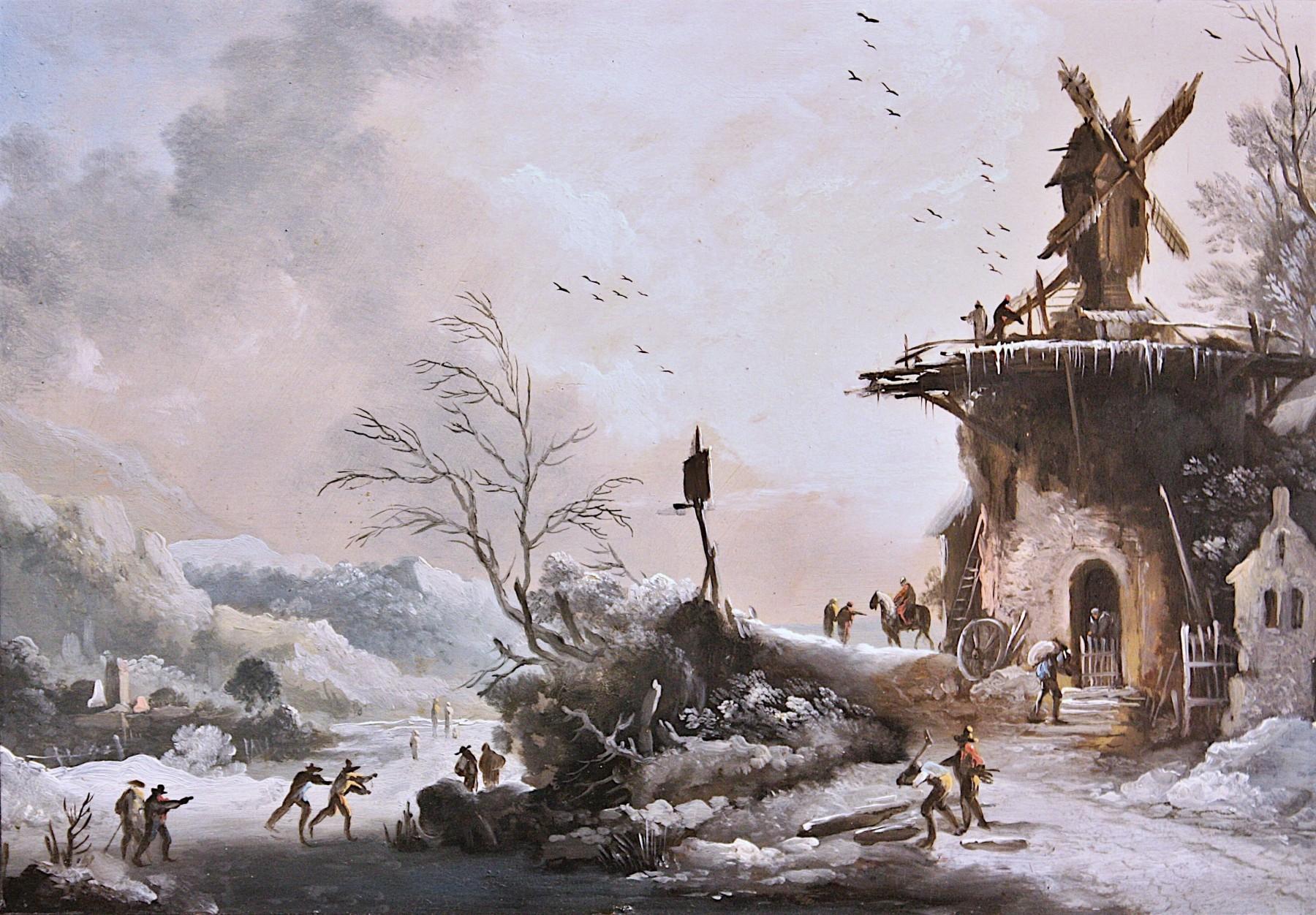 Paysage D'hiver Au Moulin, Entourage De Klaes Molenaer, Xviie Siecle encequiconcerne Dessin De Paysage D Hiver