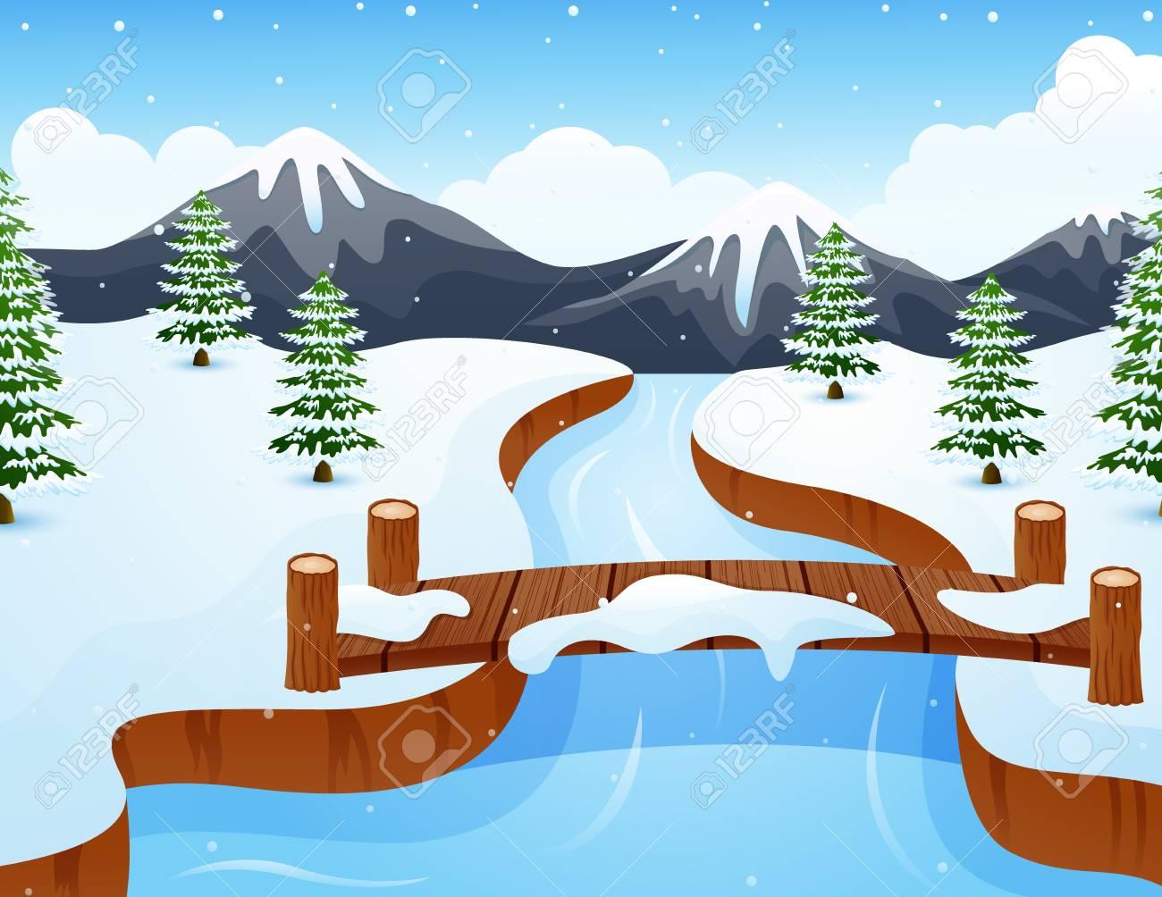 Paysage D'hiver De Dessin Animé Avec Des Montagnes Et Petit Pont En Bois  Au-Dessus De La Rivière encequiconcerne Dessin De Paysage D Hiver