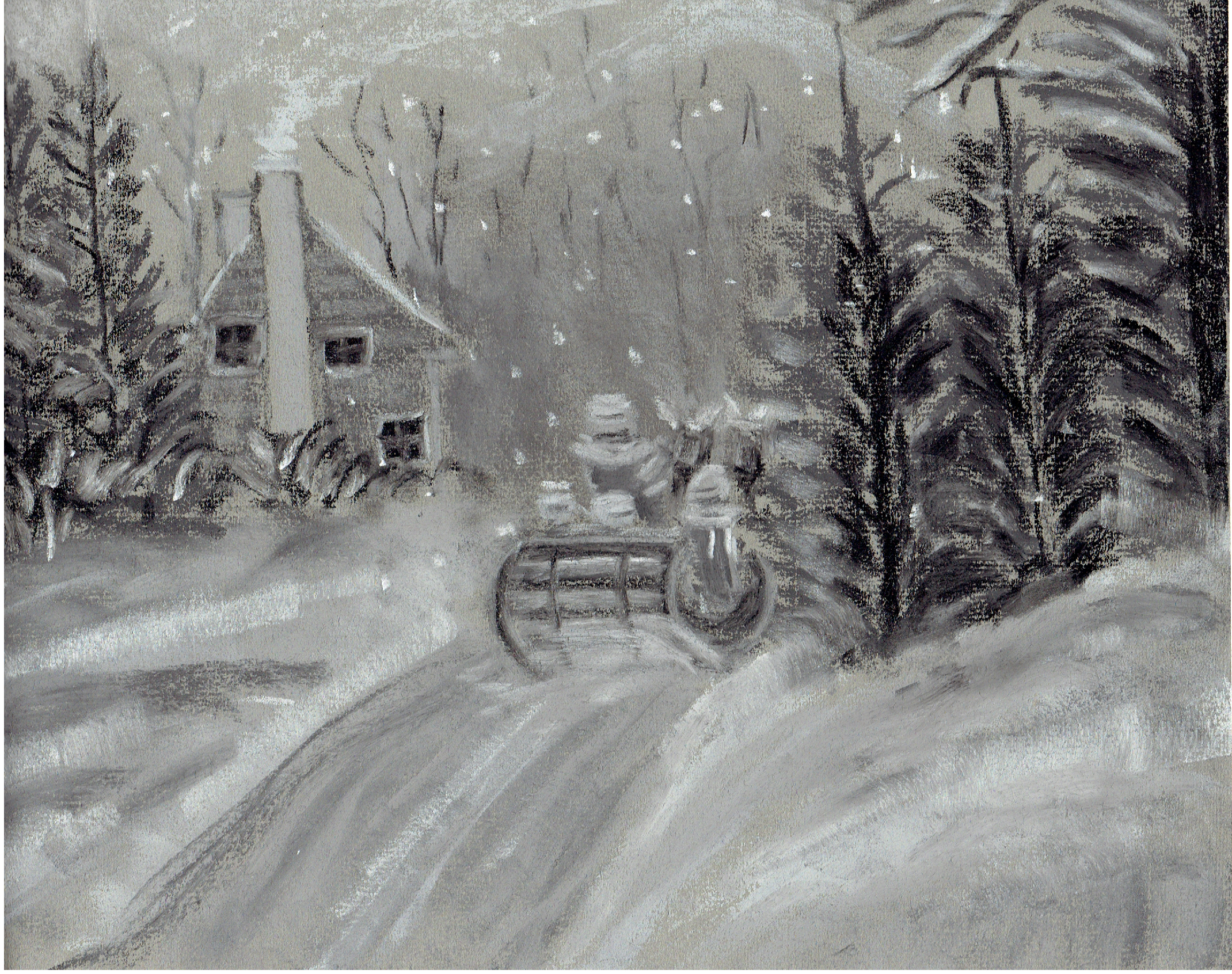 Paysage D'hiver | Dessin Au Fusain, Peinture Dessin, Dessin serapportantà Dessin De Paysage D Hiver