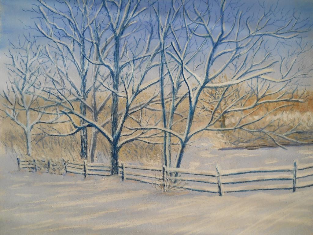 Paysage D'hiver - Pastel Et Dessin à Dessin De Paysage D Hiver
