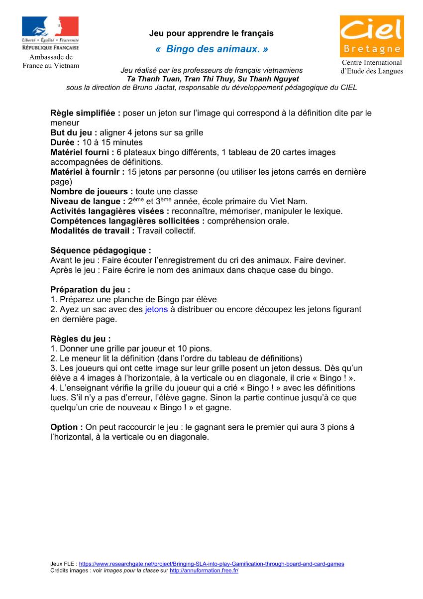 Pdf) 08-Jeu-Bingo-Lexique-Animaux-Niv2 avec Jeu Cri Des Animaux