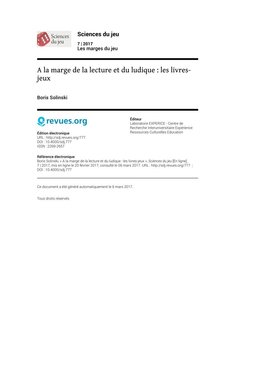 Pdf) A La Marge De La Lecture Et Du Ludique : Les Livres-Jeux intérieur Jeux Ludique En Ligne