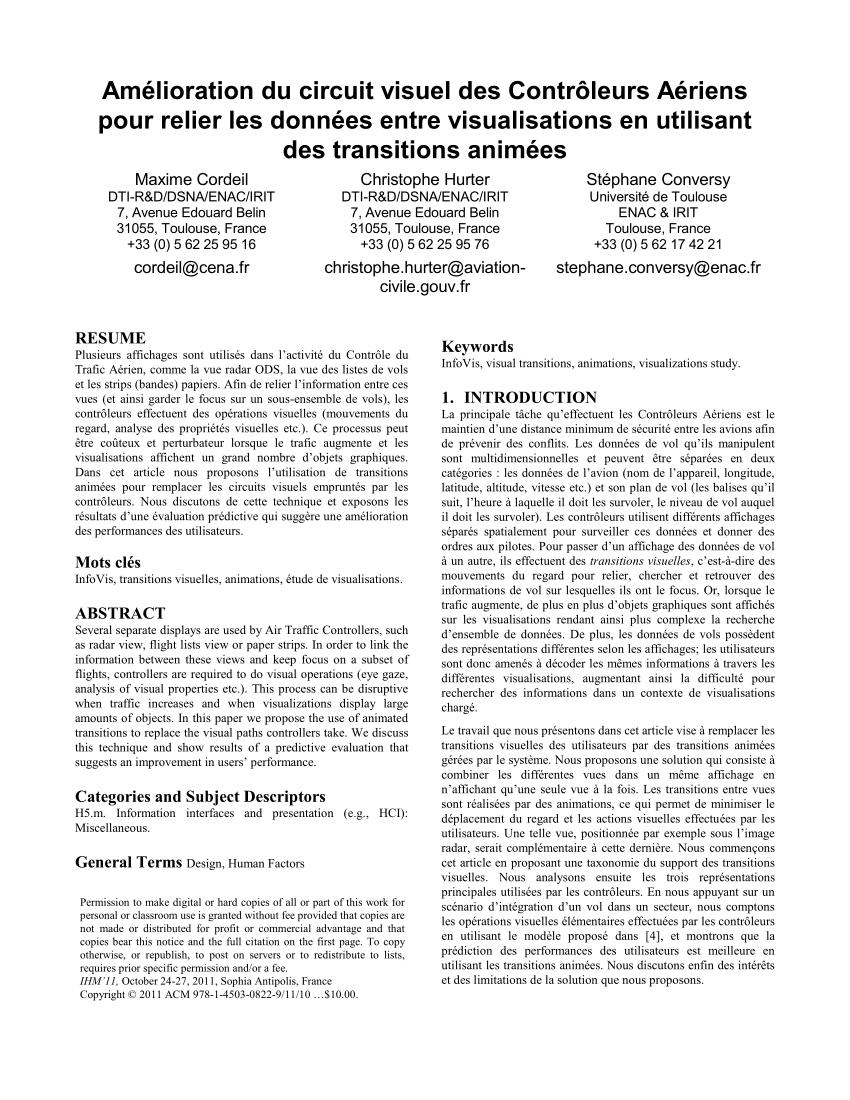 Pdf) Amélioration Du Circuit Visuel Des Contrôleurs Aériens destiné Ivre Mots Fleches