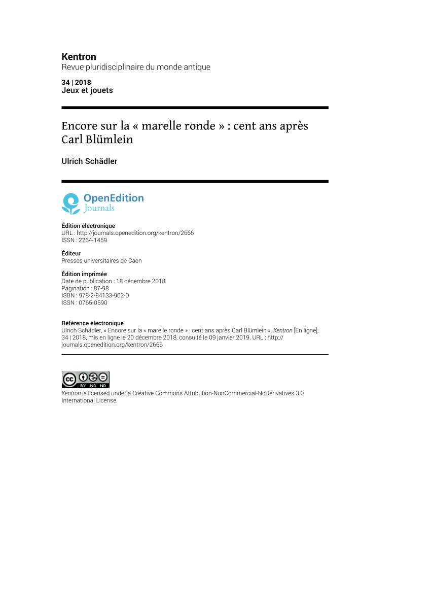 Pdf) Encore Sur La « Marelle Ronde » : Cent Ans Après Carl avec Jeux En Ligne 2 Ans