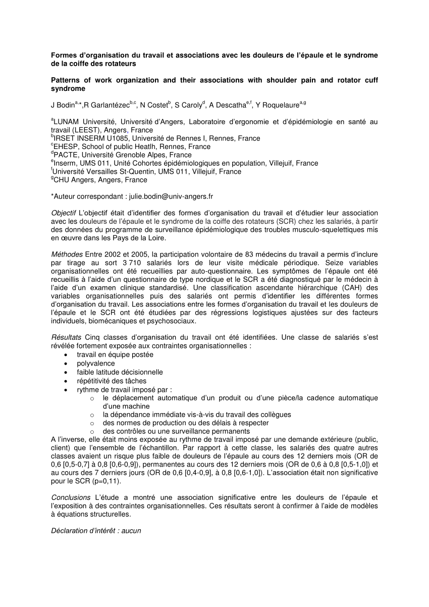 Pdf) Formes D'organisation Du Travail Et Associations Avec intérieur Association De Formes