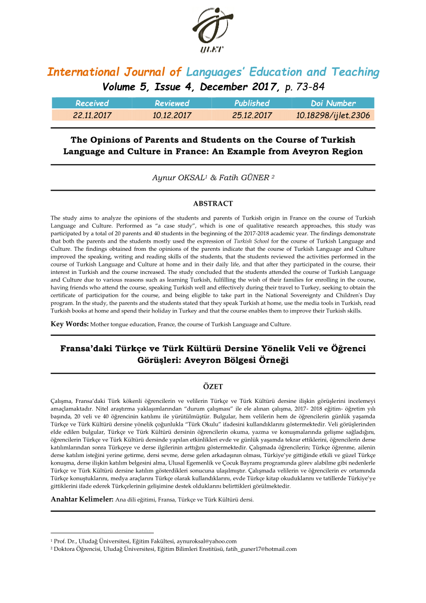 Pdf) Fransa'daki Türkçe Ve Türk Kültürü Dersine Yönelik Veli pour Region De France 2017