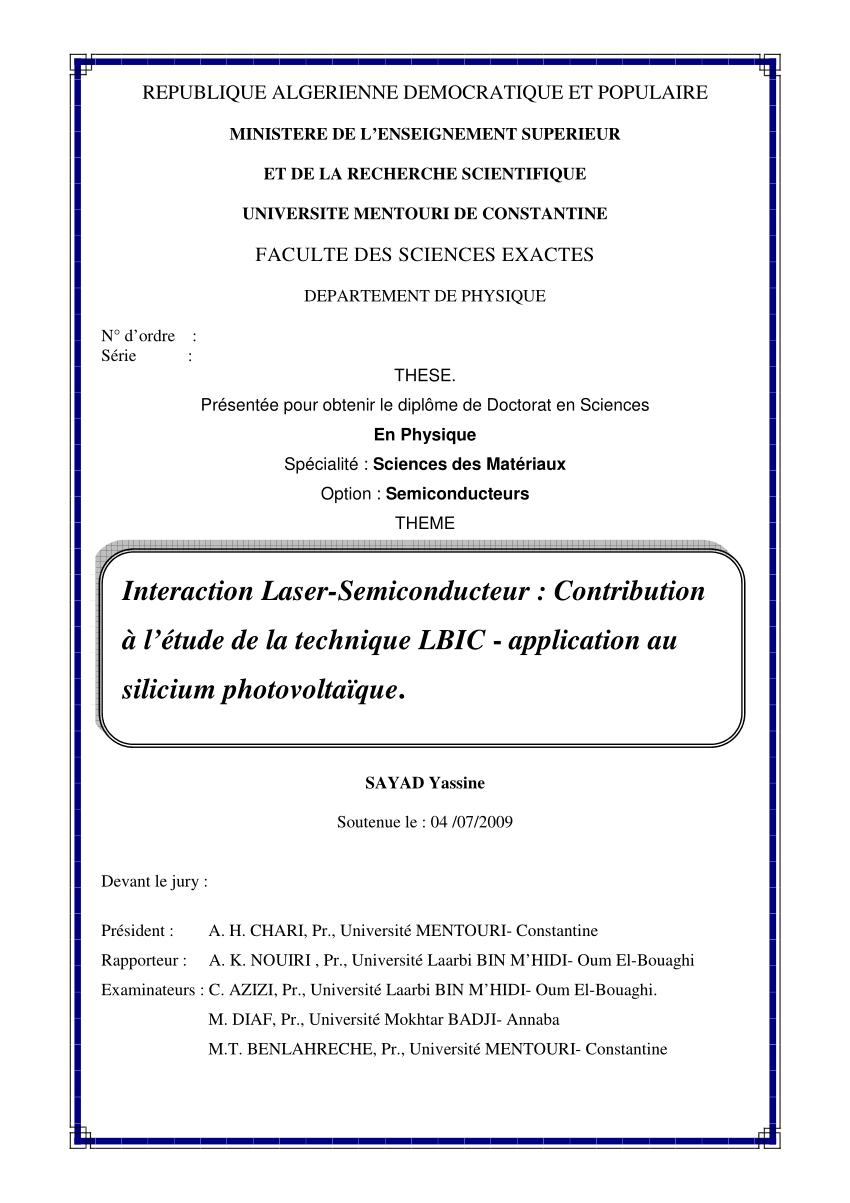 Pdf) Interaction Laser-Semiconducteur: Contribution À L tout Ivre Mots Fleches