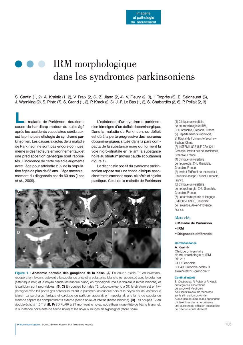 Pdf) Irm Morphologique Dans Les Syndromes Parkinsoniens serapportantà Ivre Mots Fleches