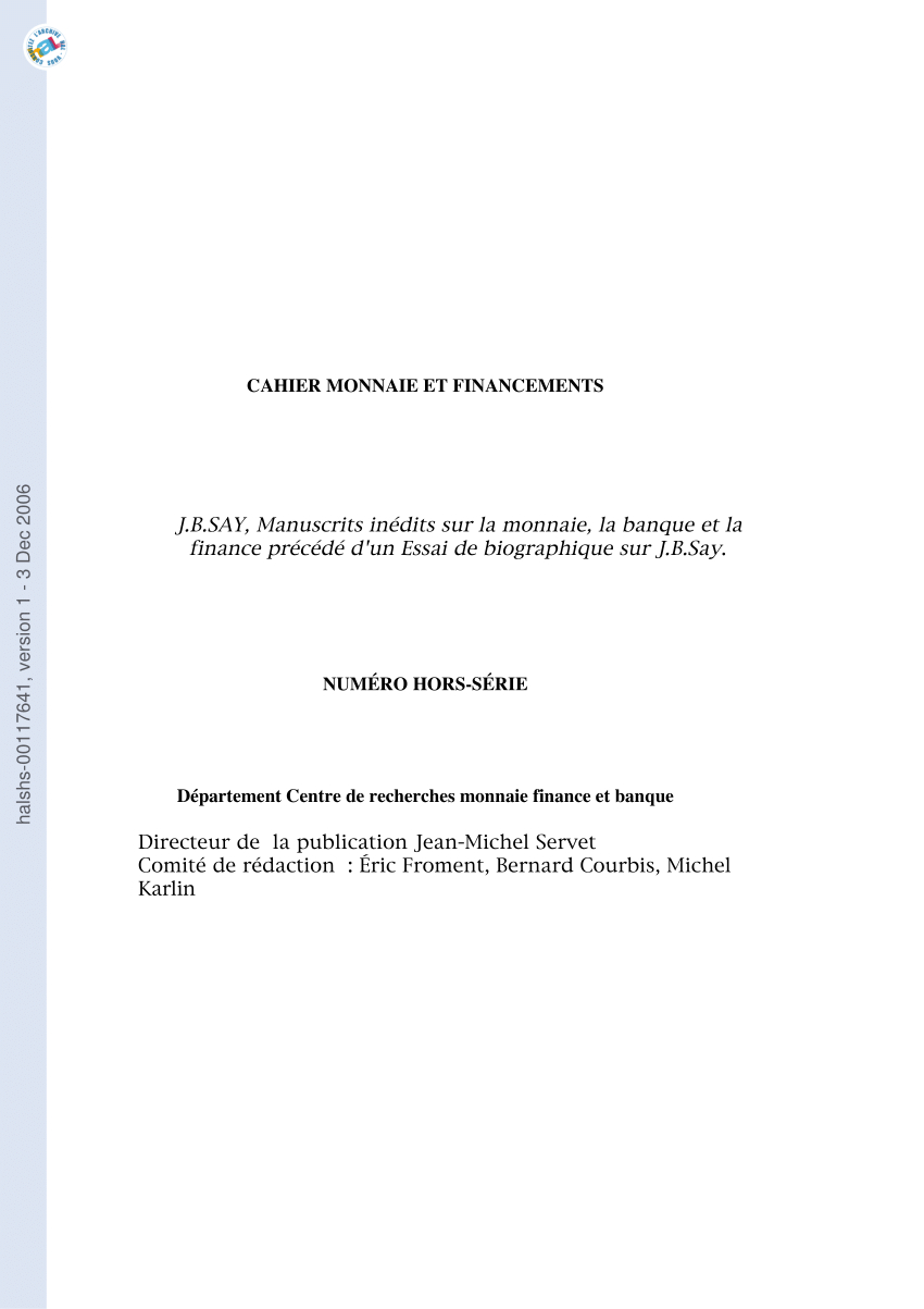 Pdf) J.b.say, Manuscrits Inédits Sur La Monnaie, La Banque dedans Argent Factice À Imprimer