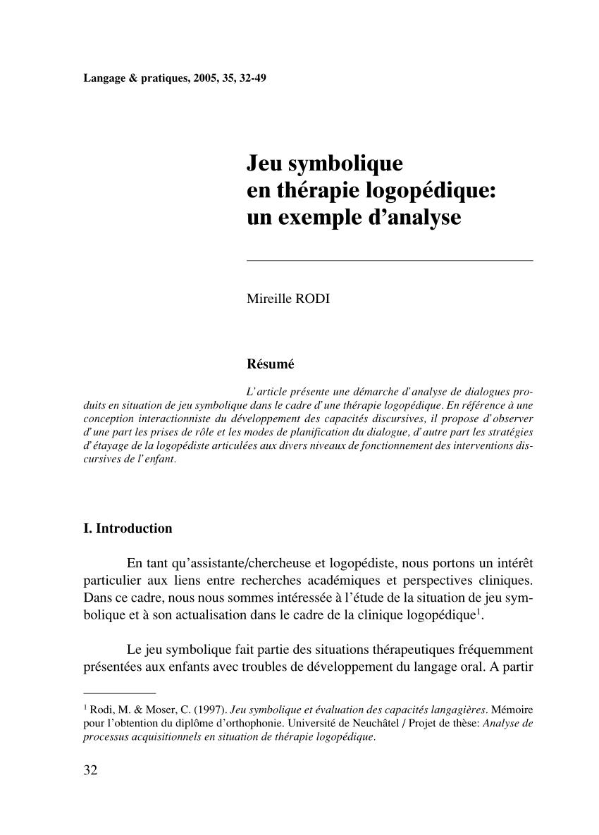Pdf) Jeu Symbolique En Thérapie Logopédique: Un Exemple D destiné Jeux De Intelligence De Fille