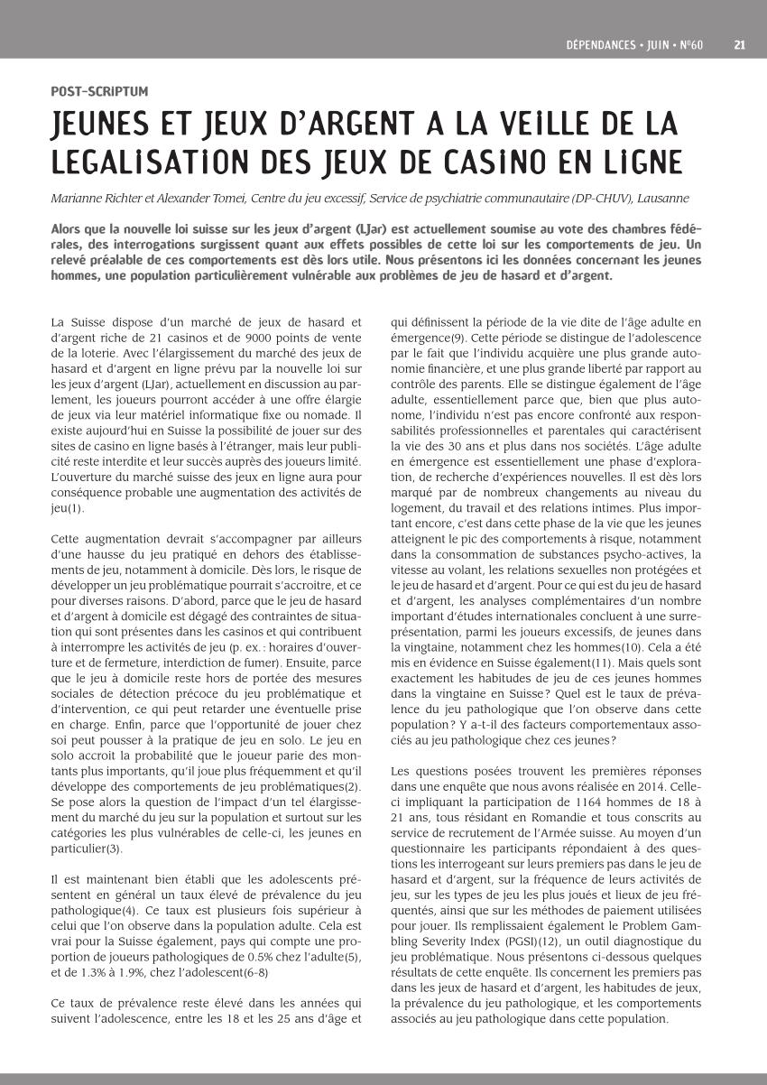 Pdf) Jeunes Et Jeux D'argent À La Veille De La Légalisation dedans Jeu En Ligne Pour Adulte