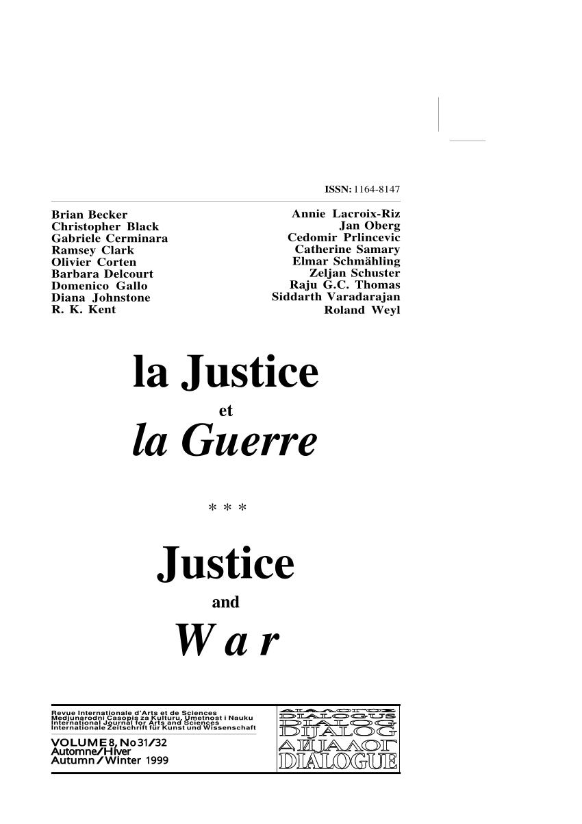 Pdf) Justice And War (La Justice Et La Guerre) - Proceedings à Prohibé Mots Fléchés
