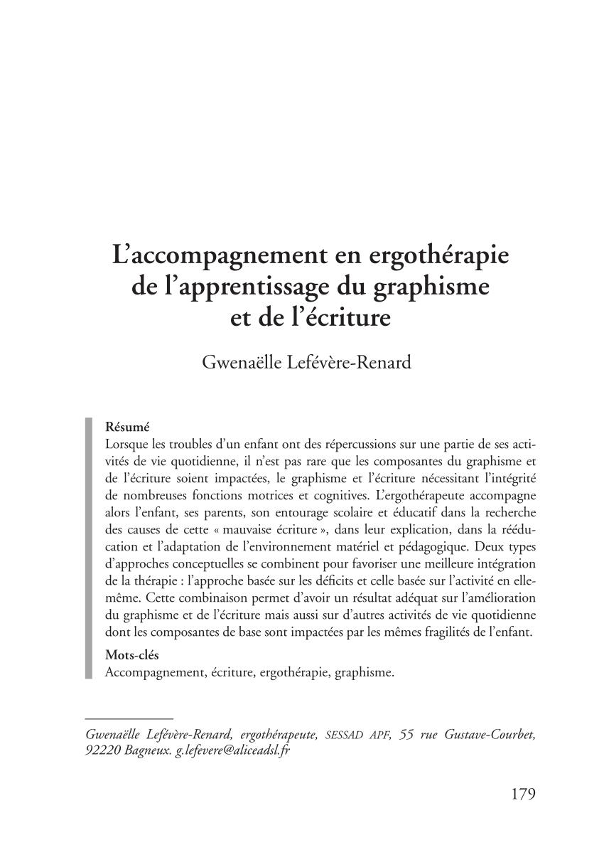 Pdf) L'accompagnement En Ergothérapie De L'apprentissage Du avec Exercice Graphisme Cp