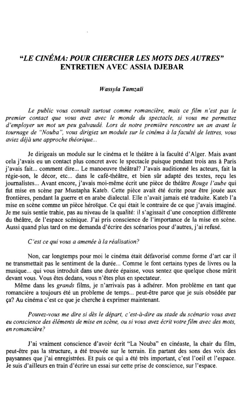 """Pdf) """"le Cinéma"""": """"pour Chercher Les Mots Des Autres pour Chercher Les Mots"""