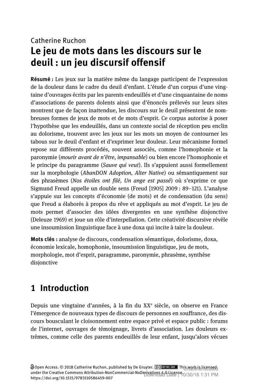 Pdf) Le Jeu De Mots Dans Les Discours Sur Le Deuil : Un Jeu avec Jeux De Mots Enfants