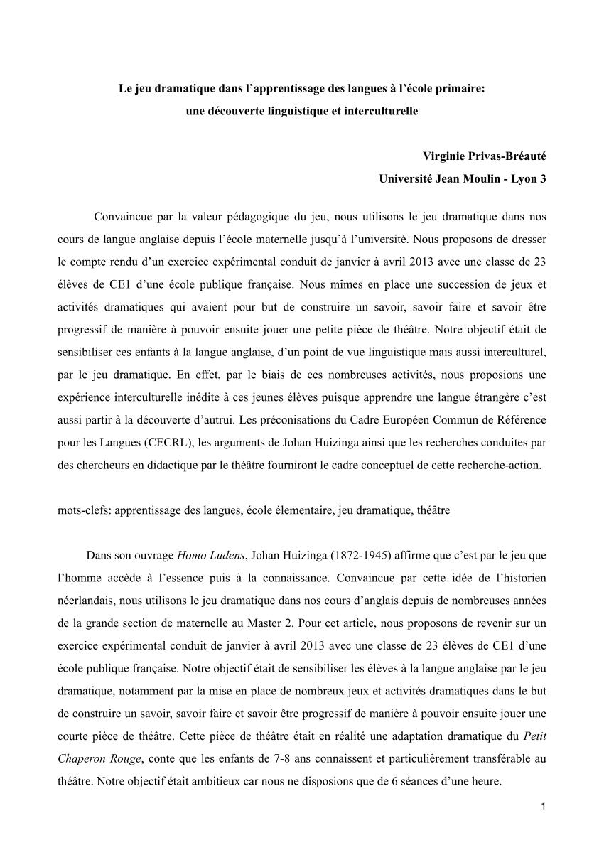 Pdf) Le Jeu Dramatique Dans L'apprentissage Des Langues À L pour Jeux D Apprentissage Maternelle