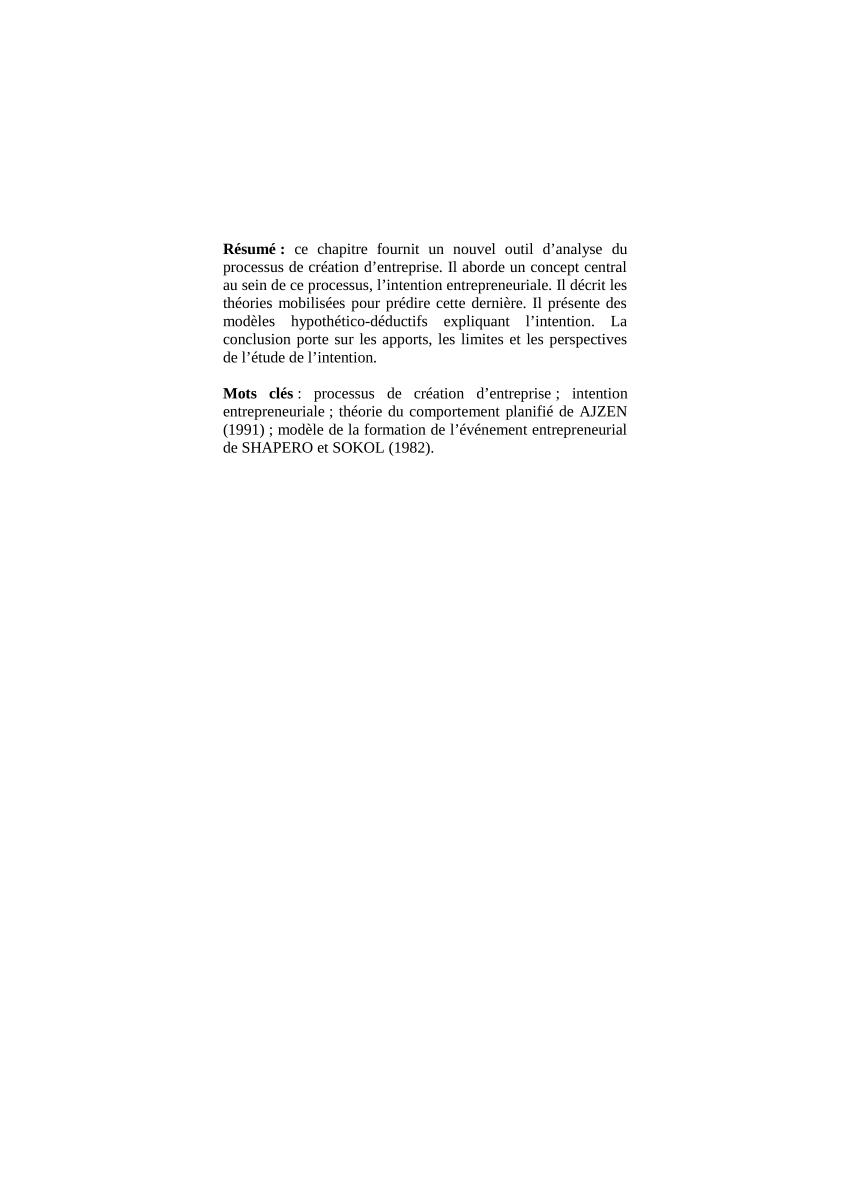 Pdf) L'intention Entrepreneuriale : Théories Et Modèles intérieur Prohibé Mots Fléchés