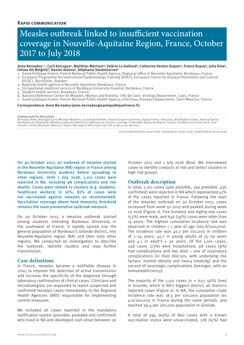 Pdf) Measles Outbreak Linked To Insufficient Vaccination avec Nouvelle Region France