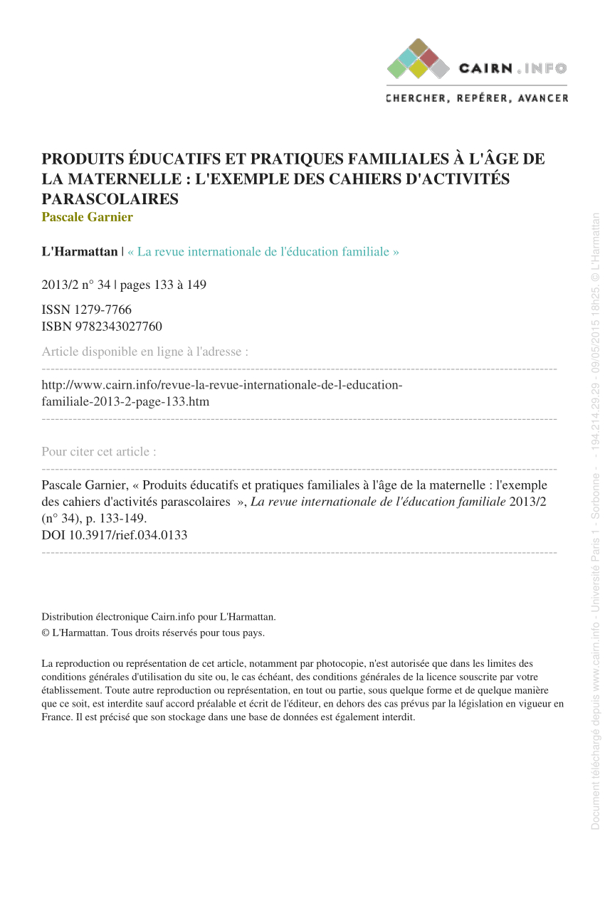 Pdf) Produits Éducatifs Et Pratiques Familiales À L'âge De destiné Cahier De Vacances Maternelle Pdf
