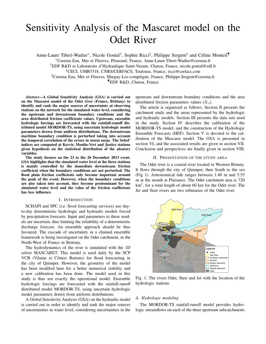 Pdf) Sensitivity Analysis Of The Mascaret Model On The Odet destiné Les Fleuves En France Cycle 3