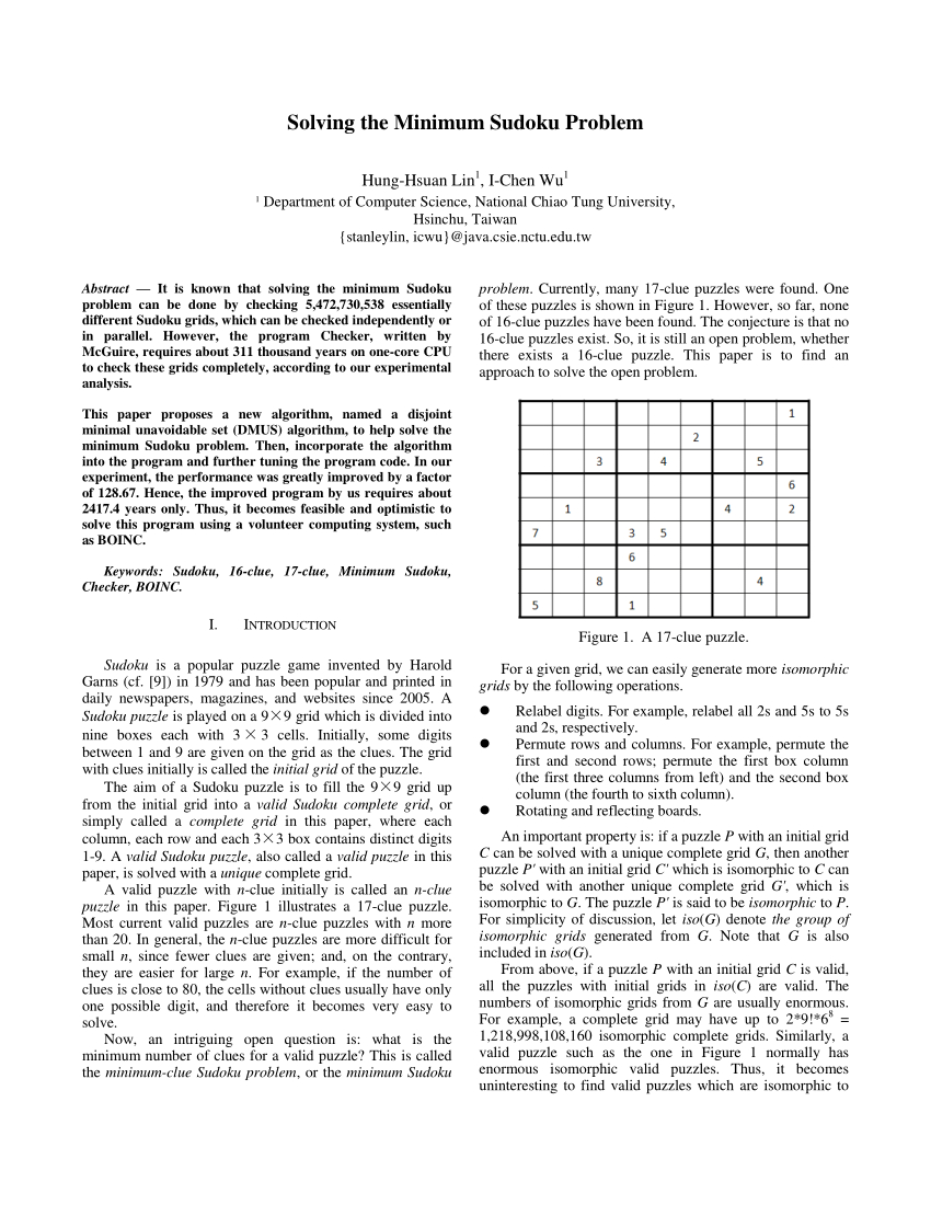 Pdf) Solving The Minimum Sudoku Poblem serapportantà Sudoku Gs