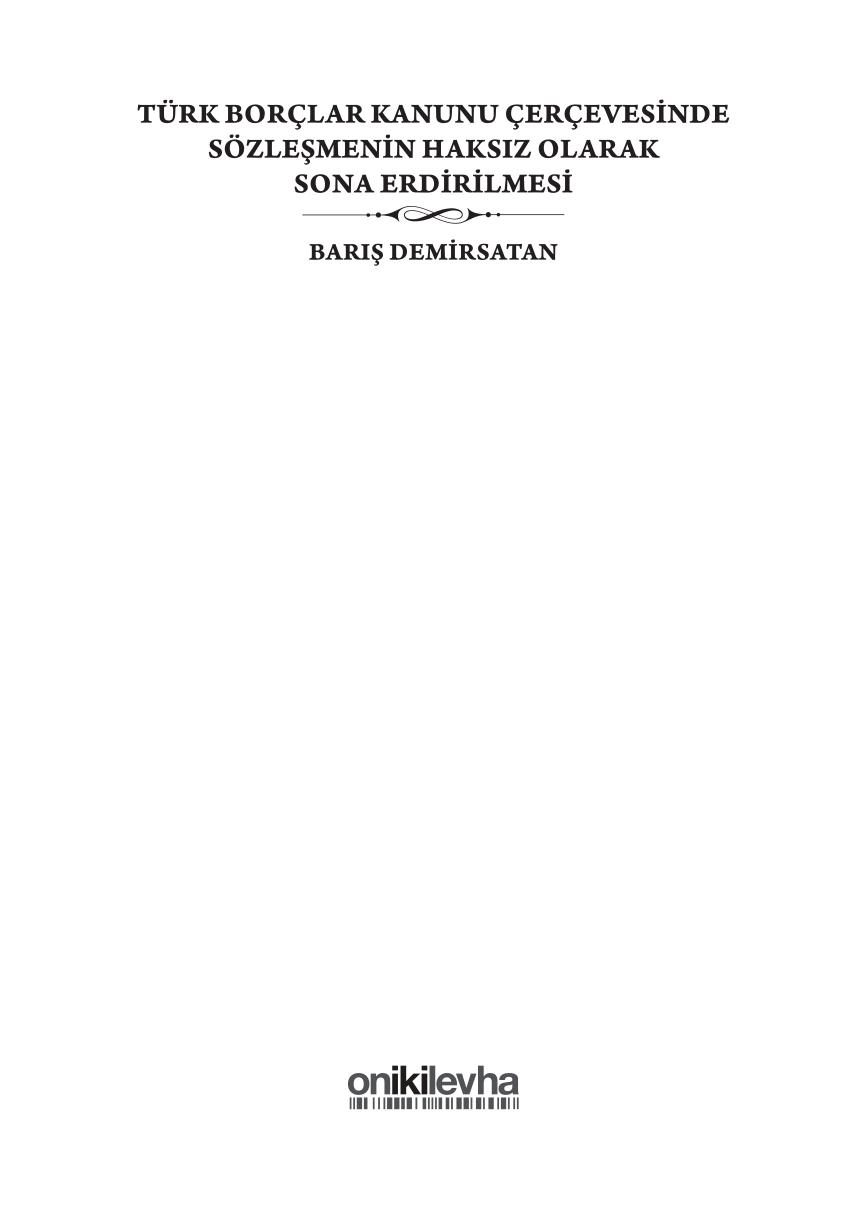 Pdf) Türk Borçlar Kanunu Çerçevesinde Sözleşmenin Haksiz pour Rebus Enfant