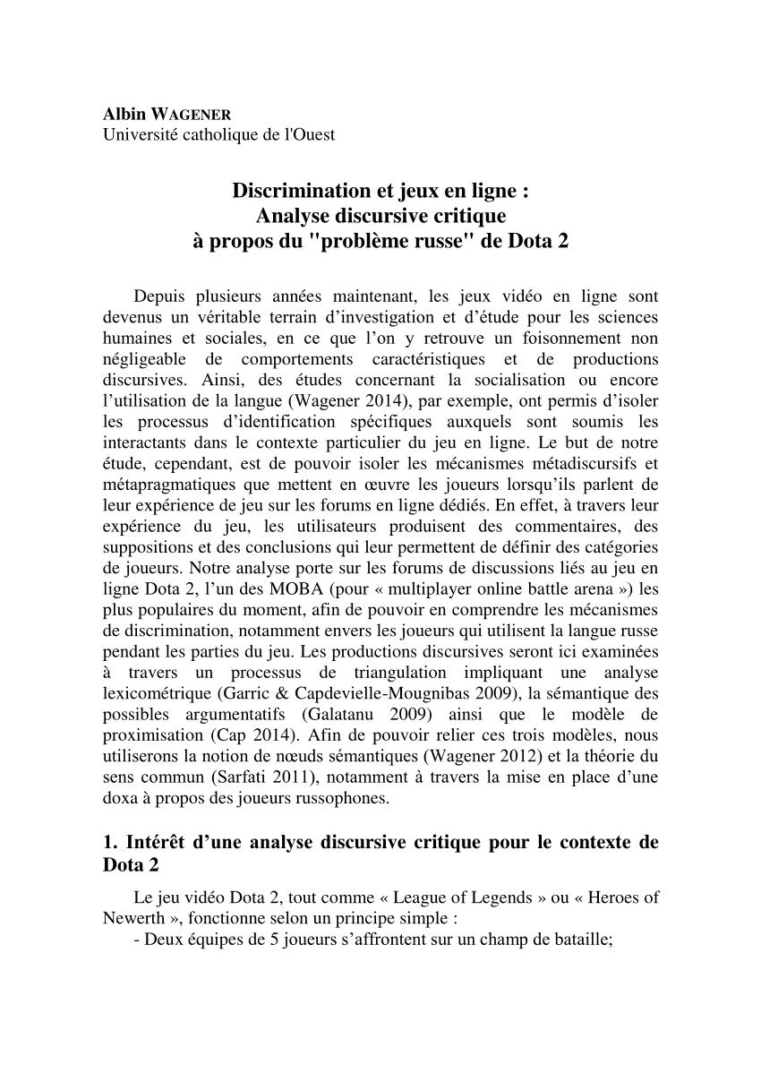 Pdf) Wagener A., « Discrimination Et Jeux En Ligne : Analyse serapportantà Jeux A Deux En Ligne