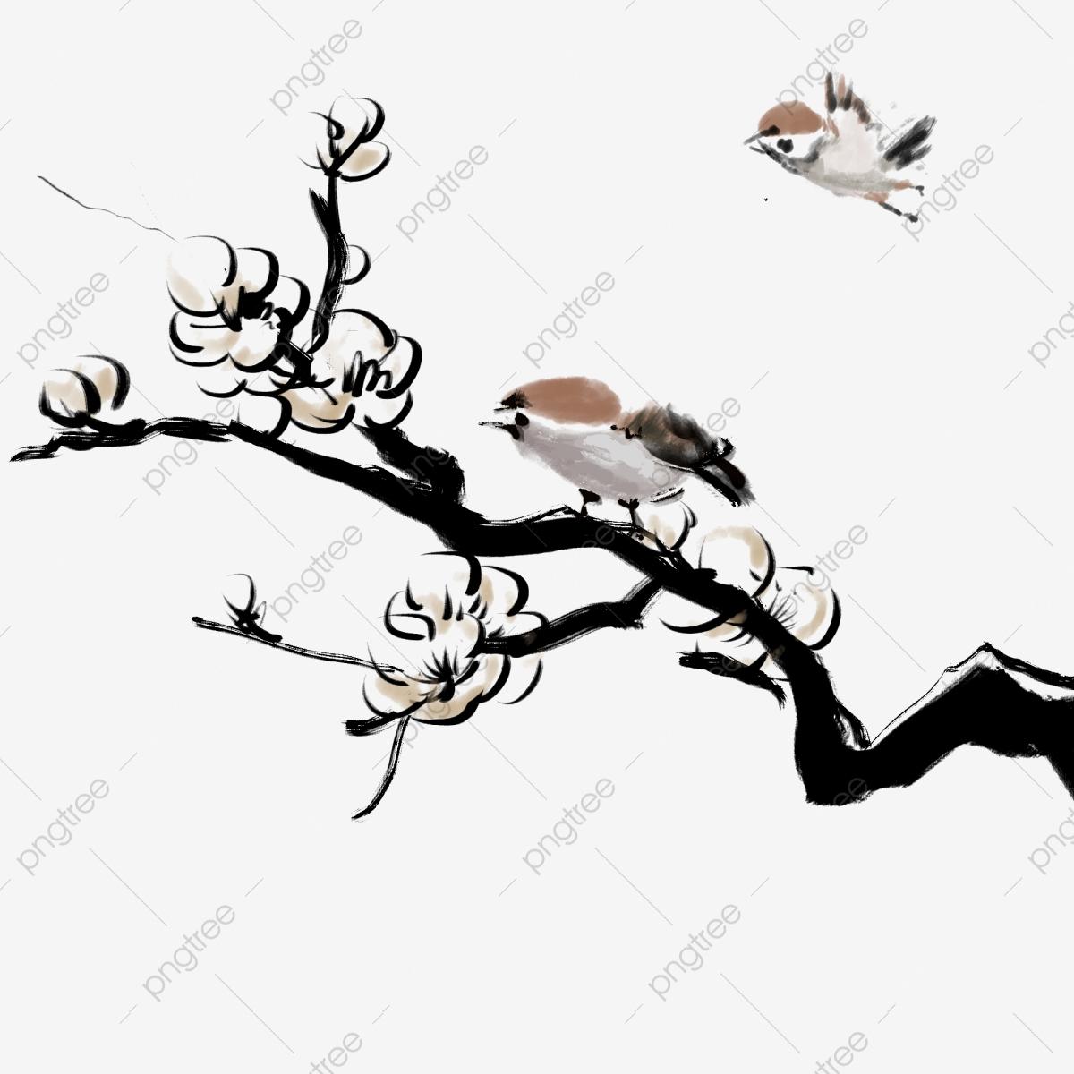 Pêche À L'encre Peinture Chinoise De Fleurs Et D'oiseaux à Dessin D Oiseau Simple