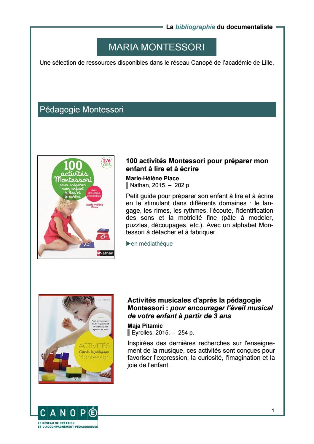 Pédagogie Montessori By Canopé Académie De Lille - Issuu encequiconcerne Activité Montessori 3 Ans