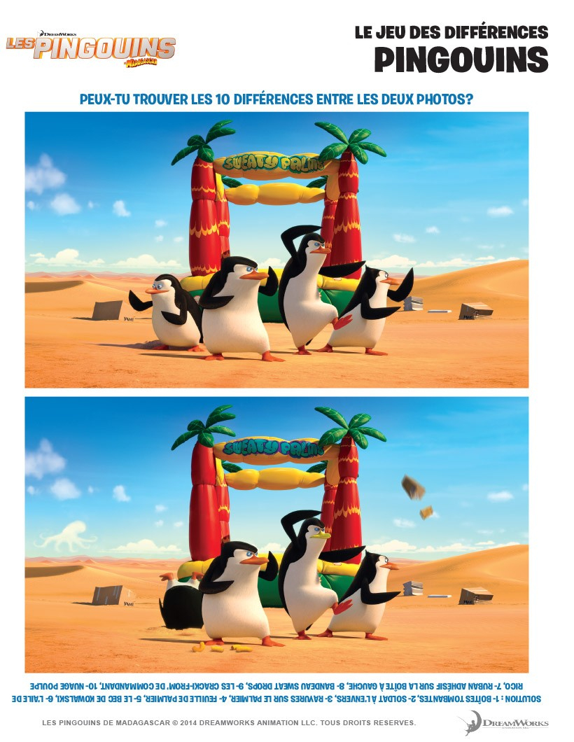 Penguins Of Madagascar Differences Game Online Games serapportantà Trouver Les Difference
