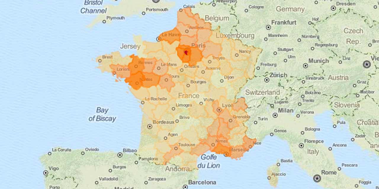 Pénurie De Carburant : La Carte De France Des Départements serapportantà Région Et Département France