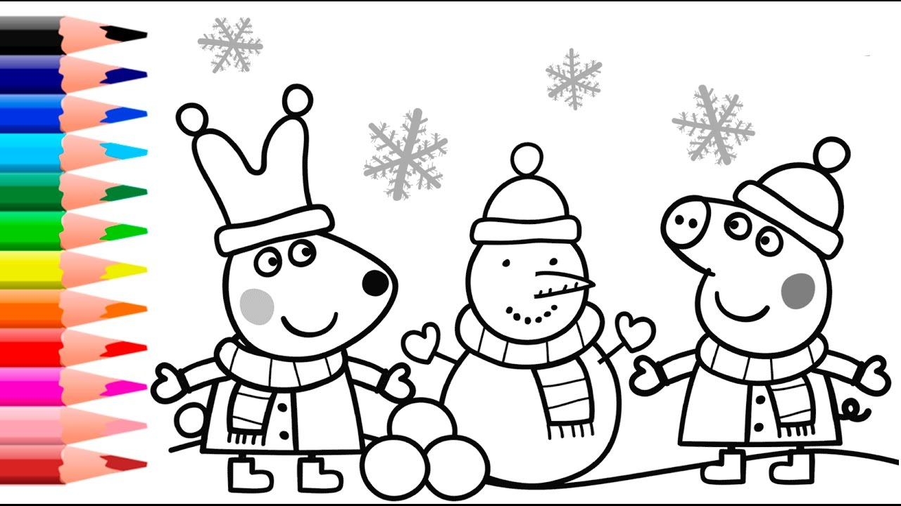 Peppa Pig Christmas Coloring Pages destiné Peppa Pig A Colorier