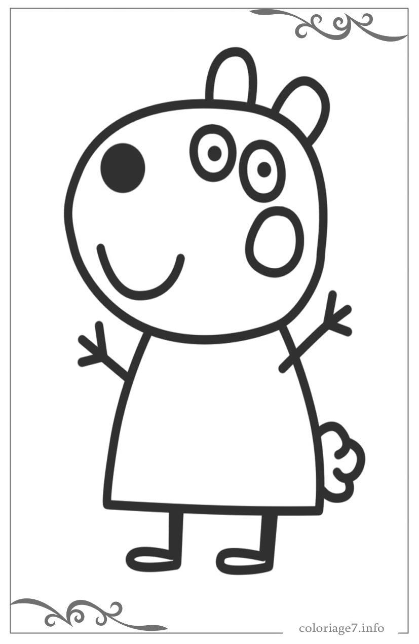 Peppa Pig Dessins Simples Pour Le Coloriages Des Petits Enfants tout Peppa Pig A Colorier