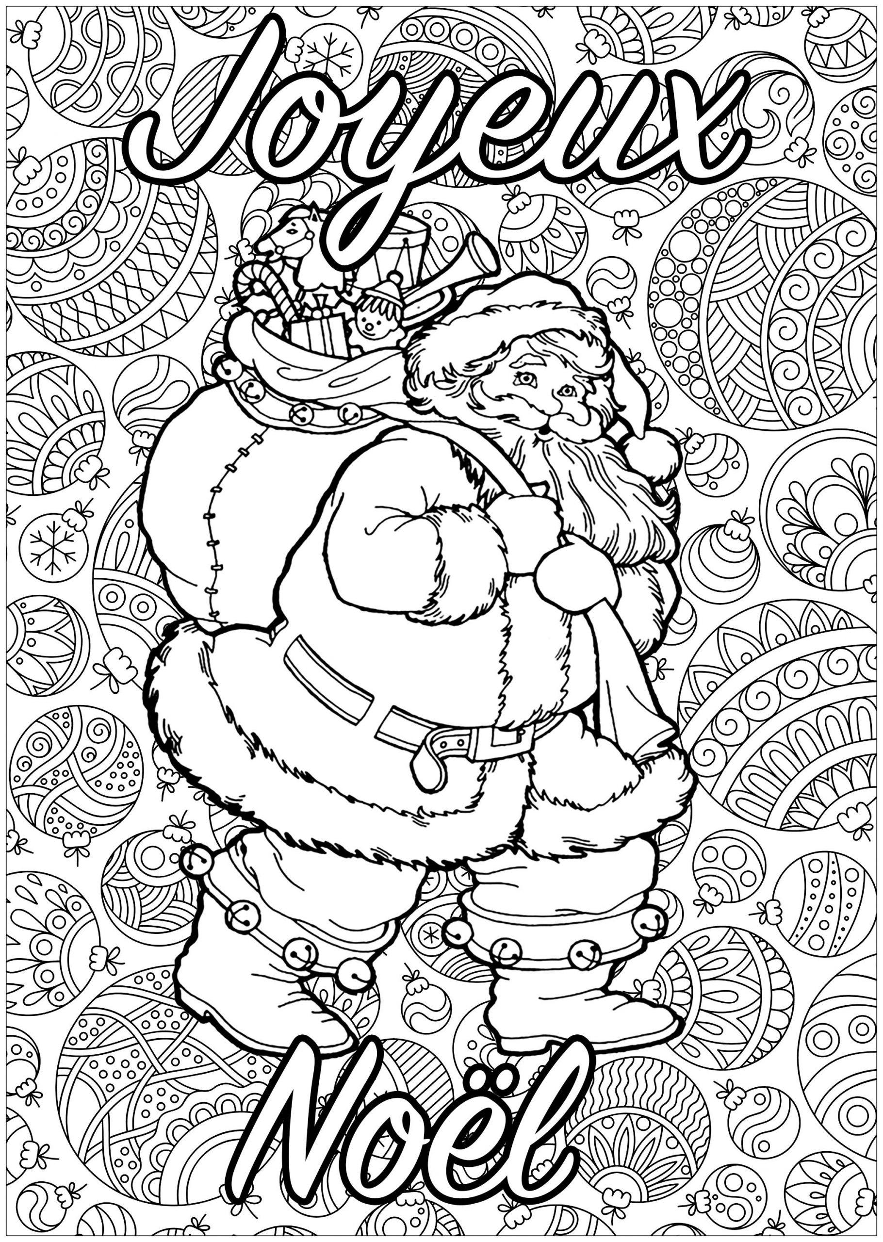 Pere Noel Avec Texte - Noël - Coloriages Difficiles Pour Adultes tout Coloriage De Père Noel Gratuit A Imprimer