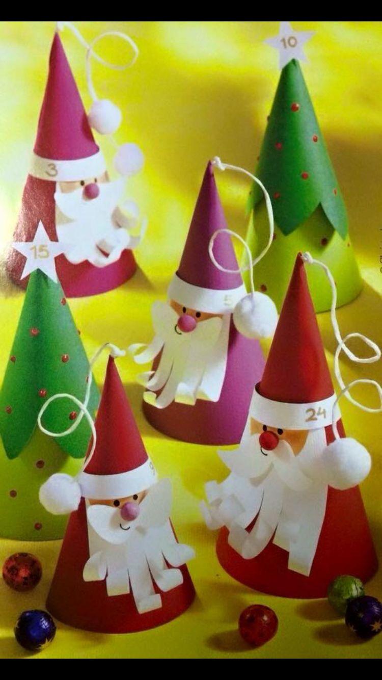Père Noël Et Sapin Conique | Activité Noel Maternelle, Noel concernant Fabrication De Pere Noel
