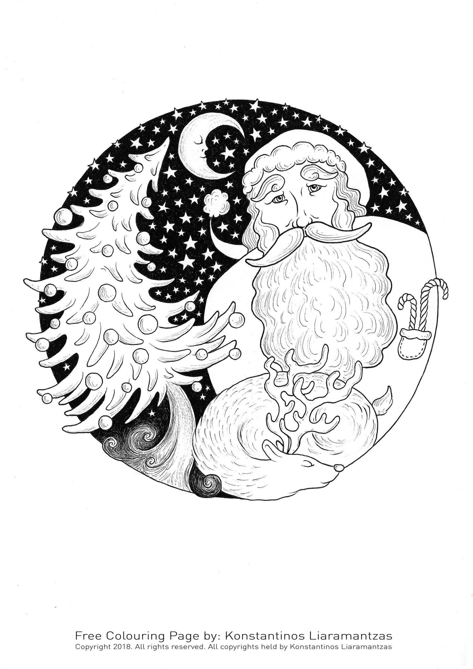 Père Noël Et Sapin - Noël - Coloriages Difficiles Pour Adultes serapportantà Coloriage Pere Noel À Imprimer Gratuit