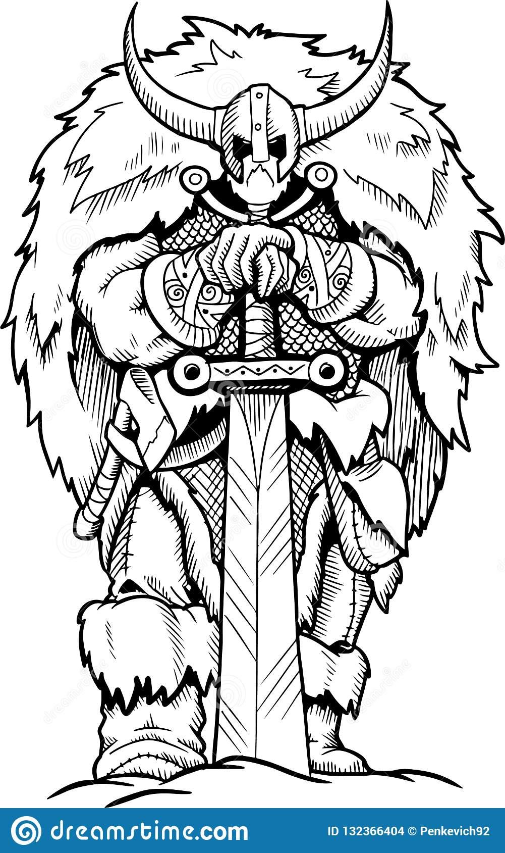 Personnage De Dessin Animé De Coloration D'épée De Viking De avec Coloriage D Épée