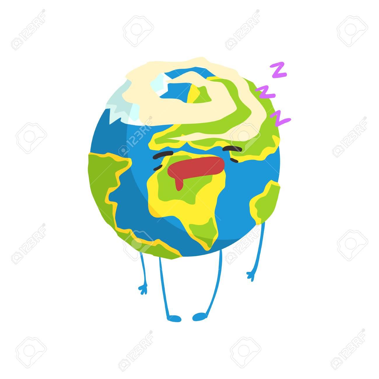 Personnage De Planète Terre Dessin Animé Mignon Dormant, Drôle Emoji Globe  Vector Illustration serapportantà Image De La Terre Dessin