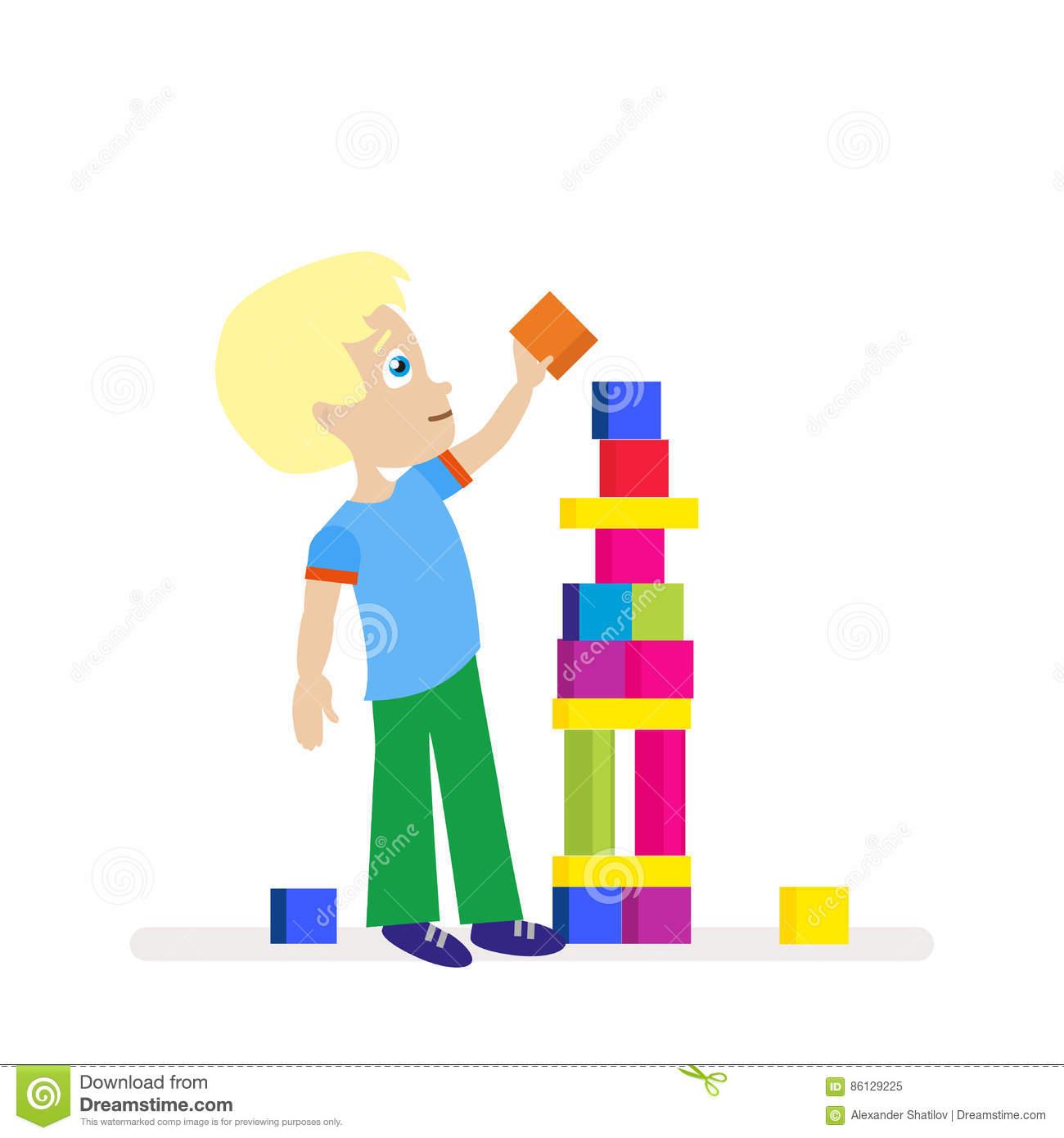 Petit Garçon Construisant Une Grande Tour Des Cubes Colorés pour Jeux De Grand Garçon